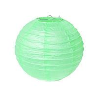 Бумажный фонарь, цвет мятный, диаметр 15 см.