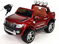 2х местный детский электромобиль FORD RANGER бордовый лакированный, кожа, 2 мотора, мощный аккумулятор