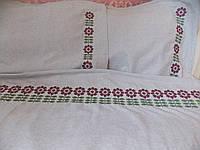 Постельное белье с вышивкой Гербера двуспальное евро полулен