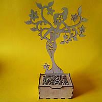 Шкатулка с подставкой для украшений, деревянная, ажурная