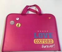 """Папка-портфель на молнии с тканевыми ручками """"Оксфорд"""" розовый 1Вересня 491124"""