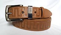 Ремень кожаный классический 35 мм рыжий пряжка и тренчик в комплекте рисунок