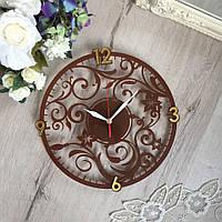 """Часы """"Узор"""" коричневые"""