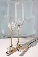 """Набор  """"Crystal Gold Plus"""" Бокалы 235 ml и приборы для торта"""