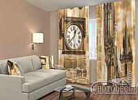 """ФотоШторы """"Часы на стене Старая ратуша"""" 2,5м*2,6м (2 половинки по 1,30м), тесьма"""