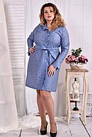 Платье sizeplus в рубашечном стиле  0579 органза