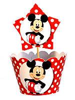 """Топперы для капкейков """"Mickey Mouse горох"""". В упак: 10шт."""