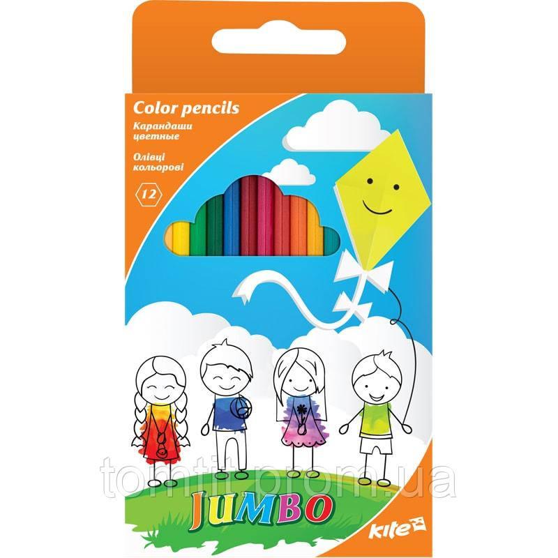 Карандаши  трехгранные Jambo12 цветов, ТМ Kite