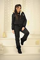 Зимний женский горно-лыжный, очень теплый костюм-двойка, куртка на меховой подкладке, черный