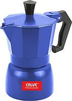 Гейзерная кофеварка эспрессо Calve СL-1594-С (Синяя), 120 мл