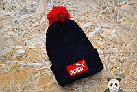 Мужская черная шапка с бубоном пума,Puma