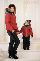 """Зимний женский костюм двойка с песцовым воротником на синтепоне 250 """"НОРМА"""" и """"БАТАЛ"""", красный"""