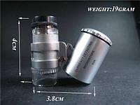 Карманный мини-микроскоп 60х, со светодиодной подсветкой (белый свет + ультрафиолет)
