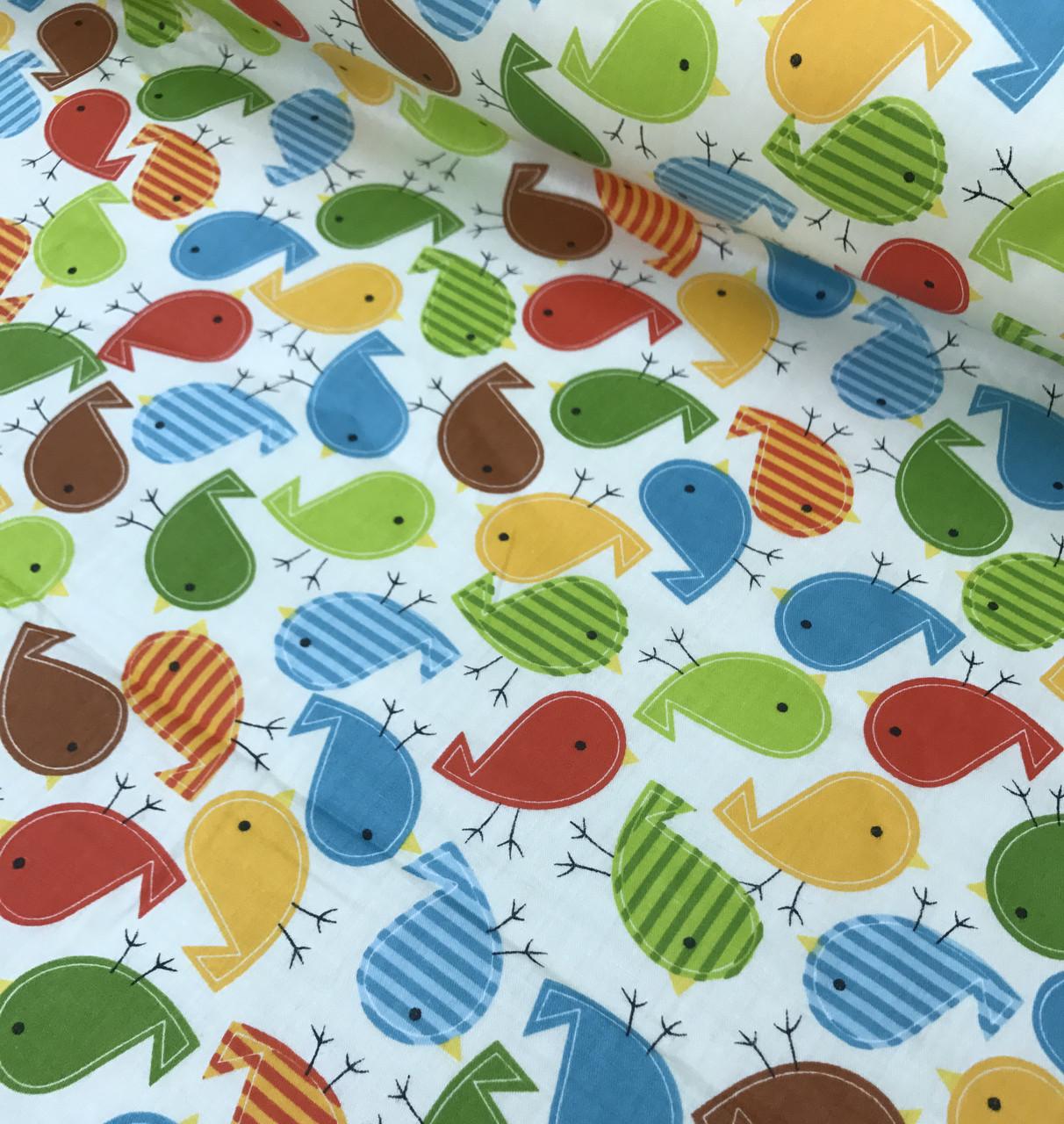 Хлопковая ткань птички разноцветные (КОРЕЯ) №582