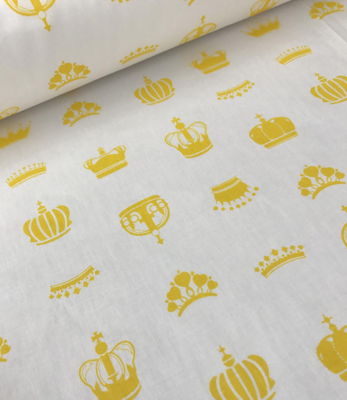 Хлопковая ткань короны желтые на белом (КОРЕЯ) №581