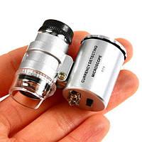 Карманный мини-микроскоп 60х, со светодиодной подсветкой, работает от 3-х батареек