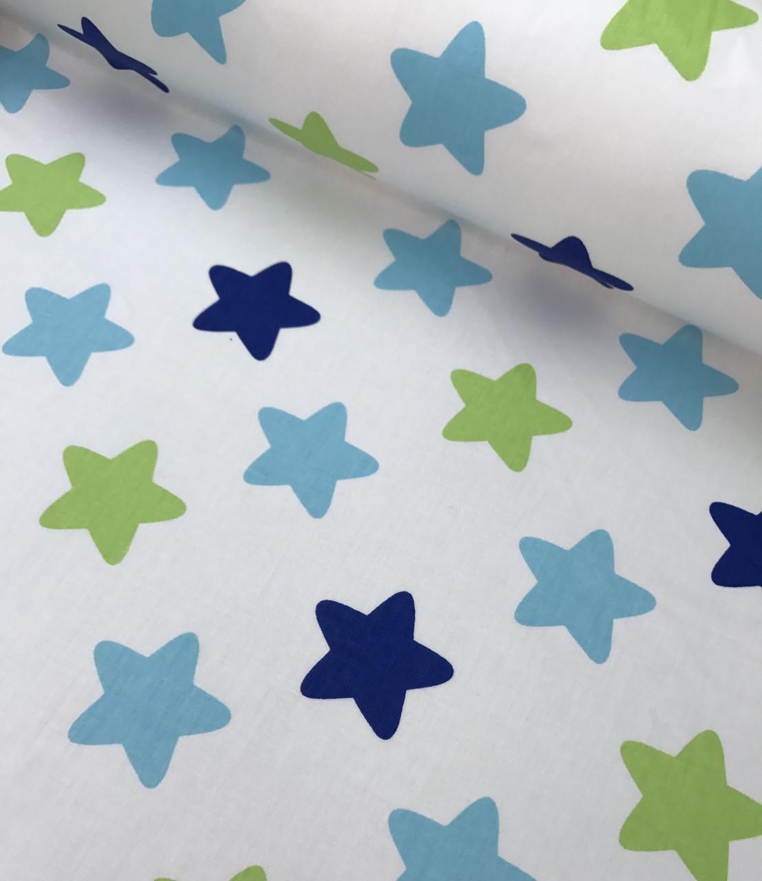 Хлопковая ткань звезды сине-салатово-голубые на белом (КОРЕЯ) №577