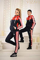 Трикотажный спортивный костюм на флисе: мужской, женский, детский; красно-синий