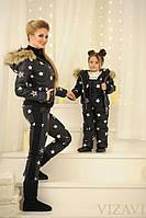 "Теплый костюм двойка ""Евро-зима"" с воротником из енота ""НОРМА"" и ""БАТАЛ"", серый"