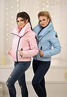 """Женская куртка """"косуха"""",  с плотной плащевки на синтепоне 150, """"НОРМА"""", розовая"""