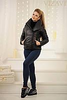 """Женская куртка """"косуха"""", """" Philipp Plein """",  с плотной плащевки на синтепоне 150, """"НОРМА"""", черная"""