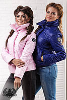 "Женская куртка "" Philipp Plein ""  с плотной плащевки на синтепоне 150, ""НОРМА"", синяя"