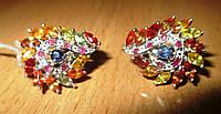 """Яркие серьги с разноцветными  сапфирами """"Мозаика"""" от студии LadyStyle.Biz, фото 1"""