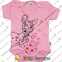 Розовый бодик Бемби для девочек Рост: 62-68-74-80-86 см (4072-2)