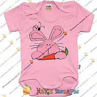Боди с зайчиком розового цвета для девочки Рост: 62-68-74-80-86 см (4070-2)