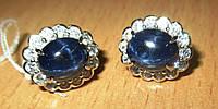 """Хорошенькие серьги с круглыми синими звездчатыми сапфирами """"Атлантида"""" от студии LadyStyle.Biz, фото 1"""