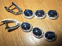 """Шикарные крупные серьги с  синими звездчатыми сапфирами """"Роскошь"""" от студии LadyStyle.Biz, фото 1"""