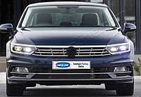 Volkswagen Passat B8 2015+ гг. Накладка на фары и полоска (3 шт, нерж)