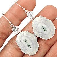 Серебряные серьги с  солнечным кварцем и херкимерским алмазом    от студии LadyStyle.Biz, фото 1