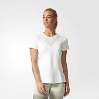 Белая женская футболка для занятий фитнесом adidas Feminine BR9837 - 2017/2