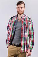 Рубашка мужская в клетку AG-0003345 Красно-салатовый