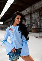 Блузка женская Блузки летние Блуза с вышивкой и завязками