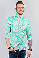 Рубашка мужская длинный рукав AG-0003436 Салатово-голубой