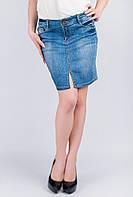 Юбка джинсовая потертая AG-0003478 Светло-синий
