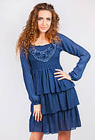 Платье женское с длинным рукавом AG-0003579 Синий