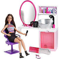 Игровой набор Barbie брюнетка салон красоты (Barbie Sparkle Style Salon Doll Playset). Mattel
