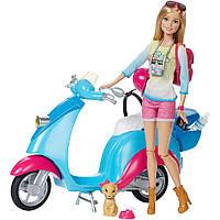 Игровой набор Barbie на скутере (Pink Passport Travel Doll with Scooter), Mattel