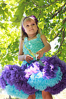 Пышные детские юбки pettiskirt Синий павлин