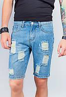 Шорты мужские джинсовые рваные до колена AG-0003831 Светло-синий