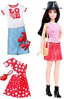 Набор Barbie Модница с одеждой, брюнетка 40, Barbie, Mattel, 40
