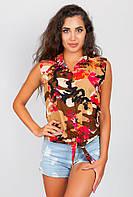 Рубашка женская короткий рукав AG-0003922 Коричнево-бежевый