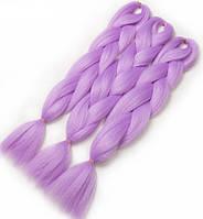 Канекалон для плетения кос сиреневый 1,3 метра