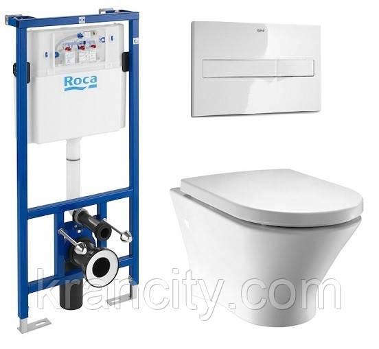Комплект: ROCA NEXO унитаз подвесной, сиденье slow-closing, PRO инсталляция A34H64800+A890090020+A890096000