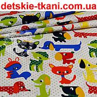 Бязь польская c разноцветными зверями и серыми точками (№865а)