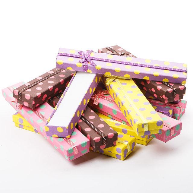 Подарочная коробочка под цепочку Горошек в цветах