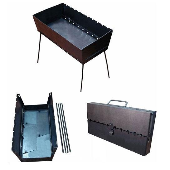 Мангал (чемодан) на 10 шампуров 2.0 мм